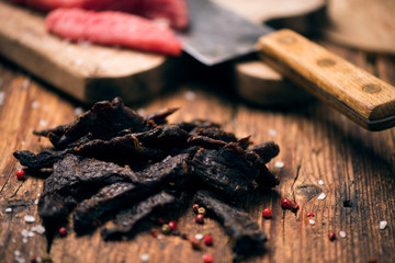 Smoked beef jerky on on a table