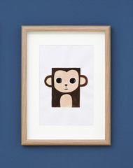 Picture of monkey on wall in baby room