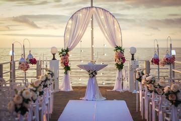 Beautiful wedding decoration oposite sea.