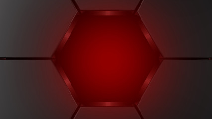 Wall Mural - metal hexagon background tunnel hole with red. 3d render