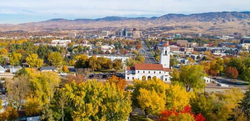 View of downtoan Boise and train depot in the fall