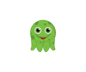 octopus cute green color