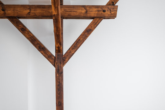 wooden roof beam / framework  and white wall background