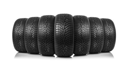 Winter tires on a white background.