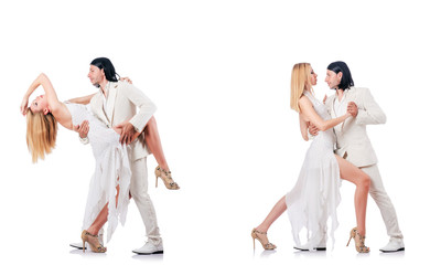 Pair dancing dances isolated on white