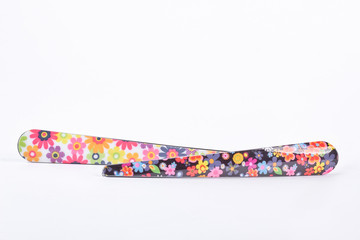 Floral print hair clips. Two metall hair pins isolated on white background. Girl hair accessory.