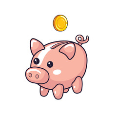 Piggy moneybox and coin isolated.