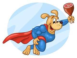 Flying muscular dog in super hero suit with big piece of gammon against  the sky