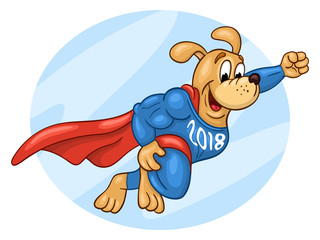 Flying muscular dog in super hero suit with 2018 lettering on his chest. 2018 Chinese New Year of the dog