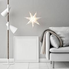 Mock up poster, sofa, lamp and decor composition, 3d render, 3d illustration