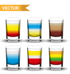 Realistic set  shots cocktails. 3d Shot with drinks for bars, restaurans collection. Glass cup liqueur. Isolated on white background. Vector illustration