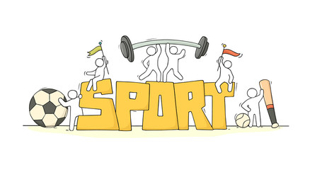little people with word Sport