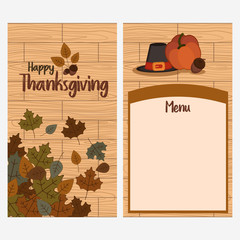 Thanksgiving day card menu