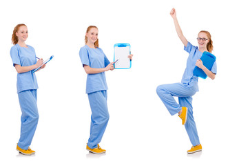 Pretty dancing  doctor  in blue uniform with documents  isolated