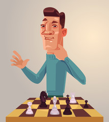 Thinking man character play chess. Vector flat cartoon illustration