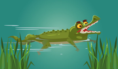 Happy smiling crocodile character swimming. Vector flat cartoon illustration