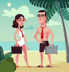 Happy smiling office workers man and woman character on the beach. Vector flat cartoon illustration