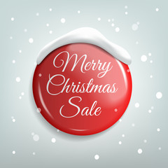 Marry Christmas Sale. Red Realistic Badge. Vector illustration