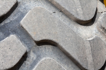 Tire tread on a large tire on construction equipment