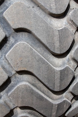 Pattern of the tire tread on a large tire on construction equipment