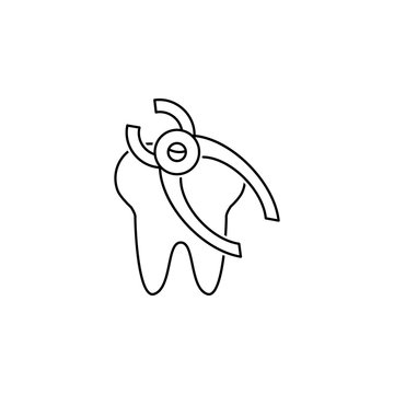 tooth removal line icon
