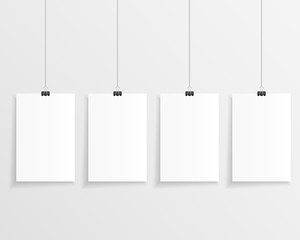Vector illustration of a four step hanging paper mockup with space for text. Paper gallery set on white background.
