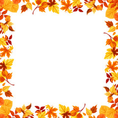 Colorful autumn leaves frame. Vector illustration.