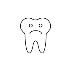 Tooth sad face sign icon. Aching tooth symbol. Unhealthy teeth. Report document, information and check tick icons