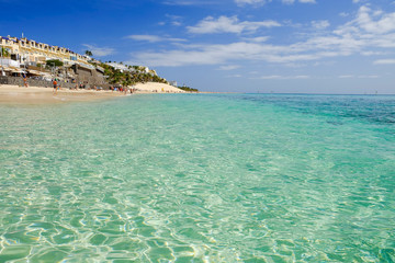 Beach Playa del Matorral on the Canary Island Fuerteventura, Spain.