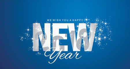 Happy New Year 2018 shadow firework blue abstract background
