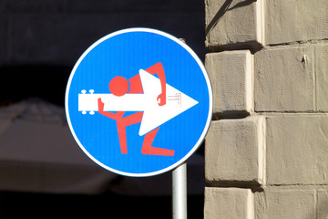 Road sign, street art