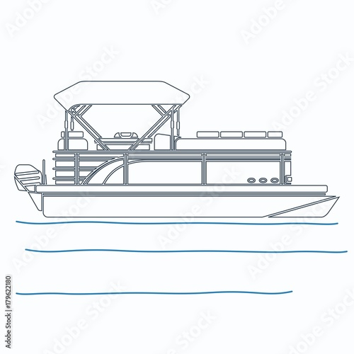 editable pontoon boat vector illustration in outline style Pontoon Boat Template