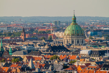 Skyline of Copenhagen with a cupola of Frederik's Church, Denmark