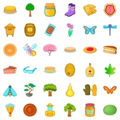 Sweet icons set, cartoon style