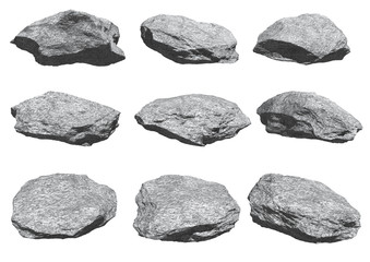 rocks set isolated on white background. Fotoväggar