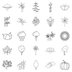 Tree leaf icons set, outline style