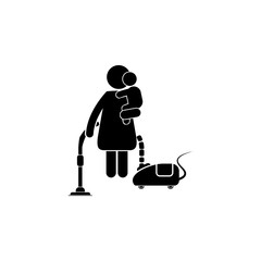 Housewife works in the hands of a child icon. Homemaker is cleaning, ironing, cooking, wash and child rearing vector icon.. Simple black family icon. Can be used as web element, family design icon