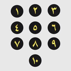 Arabic Number Set Logo Vector Template Design