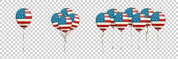 Vector set of realistic isolated balloons with american flag for decoration and covering on the transparent background. Concept of Veterans Day in USA.