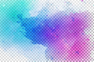 Vector realistic isolated watercolor splash effect for decoration and covering on the transparent background.