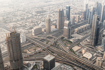 Aerial view of a highway intersection in Dubai, United Arab Emirates