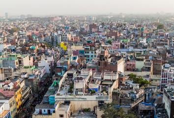 Aerial view od Old Delhi, India.