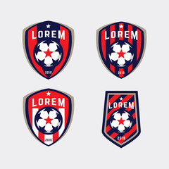 Football logo badge isolated in white background. vector