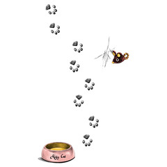 paw prints is a feeder for the cat sketch vector graphics color picture