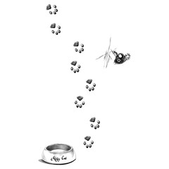 paw prints is a feeder for the cat sketch vector graphics monochrome black-and-white drawing