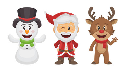 Père Noël, Renne et Bonhomme de Neige