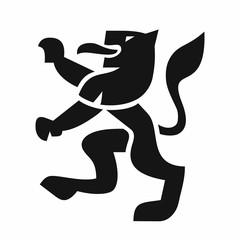 Heraldic lion black icon