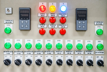 Technical display on control panel with electrical equipment devices cabinet, light