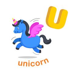 Illustration Isolated Alphabet Letter U Unicorn