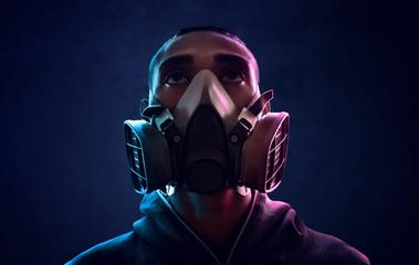 Man wearing respirator mask
